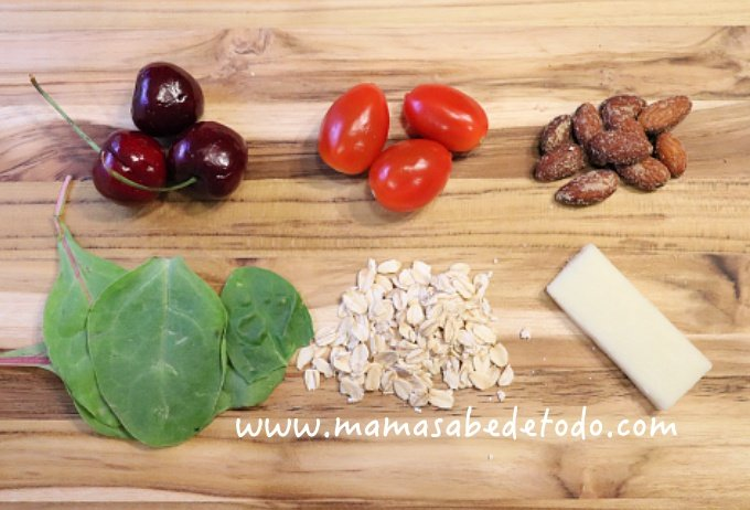 Seven Nutrients every child needs, tomatoes, cherry, cheese, oats, spinach.
